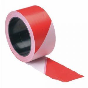 Perel Ruban de signalisation rouge-blanc 100 m