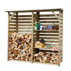 Outdoor Life Products Abri bûches en bois traité et toit zingué 190 x 72 x 176 cm