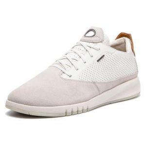Geox AERANTIS U927FA Homme Baskets Mode,Faible,Gars Chaussures,Chaussures de Sport,Chaussures à Lacets,Perméable à l'air,Blanc,43 EU