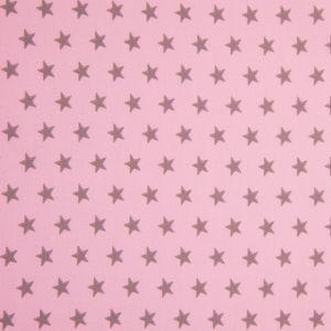 Craftine Tissu Popeline Coton Rose Etoiles beiges