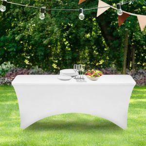 Idmarket Housse blanche pour table pliante 180 CM