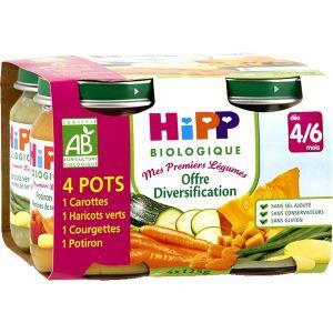HiPP Biologique Mes premiers Légumes : Offre Diversification 4 x 125g - dès 4/6 mois