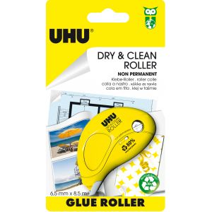 UHU Dry & Clean Non Permanent - Roller de colle repositionnable 8,5 x 6,5 mm