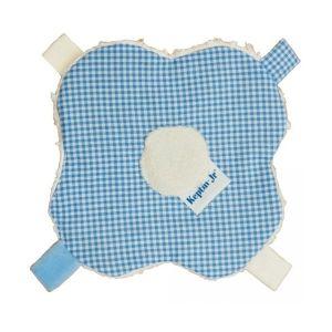 Keptin-Jr Doudou étiquettes Keptin Fleur Vichy bleu pastel - Doudou coton bio