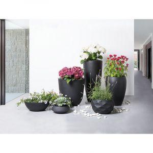 Beliani Cache-pot - Accessoir de jardin - 23x23x13 cm - Noir - Iseo