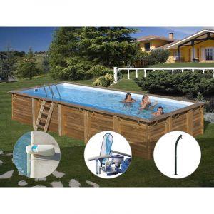 Sunbay Kit piscine bois Braga 8,00 x 4,00 x 1,46 m + Alarme + Kit d'entretien + Douche