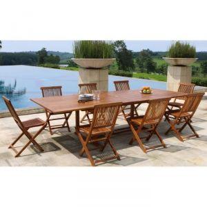 Ensemble en teck huilé table extensible de jardin + 8 chaises