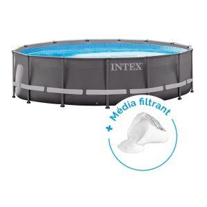 Intex Pack Piscine tubulaire Ultra Frame 4.27 x 1.22 m + Media filtrant 25 kg