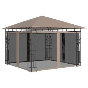 VidaXL Belvédère avec moustiquaire 3x3x2,73 m Taupe 180 g/m²