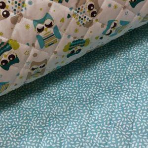Craftine Tissu Matelassé Blanc Hiboux Bleus et vert canard