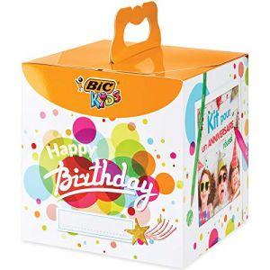 Bic Kit Anniversaire - 12 Crayons de Couleurs/12 Feutres de Coloriage/12 Pastels à l'Huile/6 Tubes de Colle Pailletée/30 Sticke