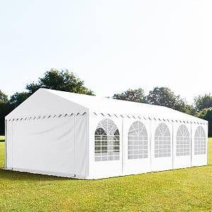 Intent24 Tente De Réception 5x10m Pvc 550 G/M² Blanc Imperméable Barnum, Chapiteau, Tente De Jardin