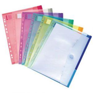 Tarifold Enveloppe perforee A4 polypropylène colorie assorti - Paquet de 12