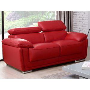 Canapé 2 places cuir de vachette MISHKA - Rouge