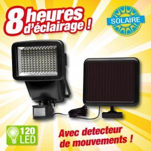 Outiror PROJECTEUR DETECTEUR DE MOUVEMENTS, à énergie solaire, forte puissance 120 LED