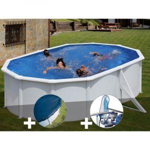 Gre Kit piscine acier blanc Bora Bora ovale 5,27 x 3,27 x 1,22 m + Bâche hiver + Kit d'entretien