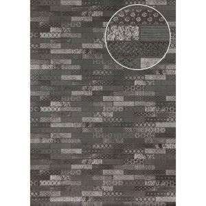 Atlas Papier peint ethnique ICO-5705-3 papier peint intissé lisse avec un dessin carrelage satiné anthracite gris-basalte argent 7,035 m2
