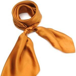 Allée du foulard Carré de soie Premium Uni Bronze