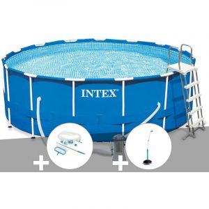 Intex Kit piscine tubulaire Metal Frame ronde 4,57 x 1,22 m + Kit d'entretien + Douche solaire