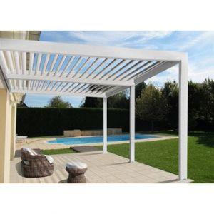 Pergola Orient 18 m² adossée en aluminium blanc