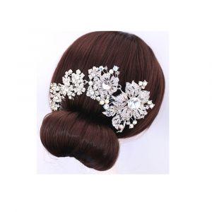 Blue Pearls Peigne à cheveux fleurs en cristal