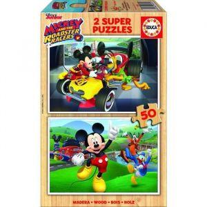 Educa Mickey et ses amis : Top départ - Puzzle en bois 2 x 50 pièces