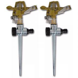 VidaXL Arroseur à impulsion sur piquet zinc métal 2 pièces