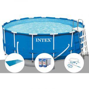 Intex Kit piscine tubulaire Metal Frame ronde 4,57 x 1,22 m + Bâche à bulles + 6 cartouches de filtration + Kit d'entretien