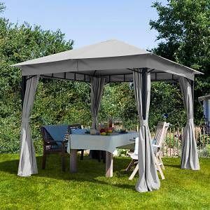 Intent24 TOOLPORT Tonnelle de Jardin 3x3m 180g/m² pavillon avec bâche de Toit imperméable Tente de Jardin avec 4 bâches de côté Gris Clair Tente de réception 6x6m Profil