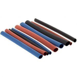 Zenitech 18 gaines thermorétractables rouge/noir/bleu, L.0.08m