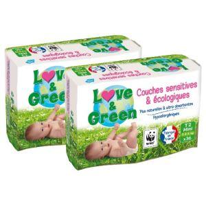 Love & Green Couches écologiques taille 2 Mini (3-5 kg) - paquet de 36