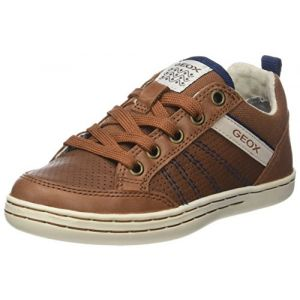 Geox Jr Garcia A, Baskets Basses Garçon, Marron (Cognac/Navy), 37 EU