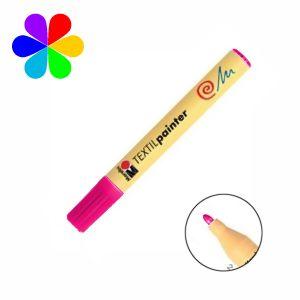 Marabu 011703005 - Marqueur pour tissu Textil Painter, framboise, pointe ogive 2-4 mm