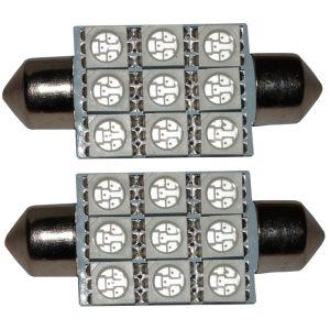 Aerzetix : 2x ampoule C5W 12V 9LED SMD rouge 39mm navette éclairage intérieur plaque d'immatriculation seuils de porte plafonnier pieds lecteur de carte coffre compartiment moteur