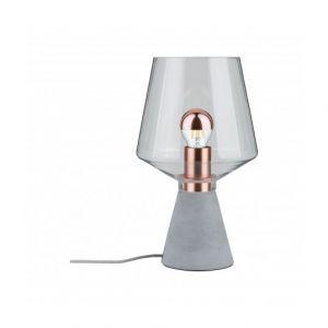 Paulmann Lampe de table LED E27 20 W EEC: selon lampoule (A++ - E) Neordic Yorik 79665 gris béton, cuivre, transparent