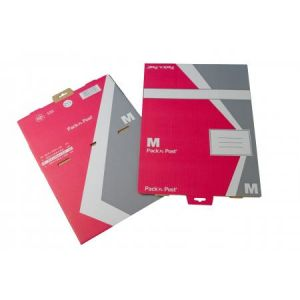 Gpv 38807 - Boîte postale Pack'n Post 240x330x103 (format M), en carton simple cannelure, coloris rouge/gris