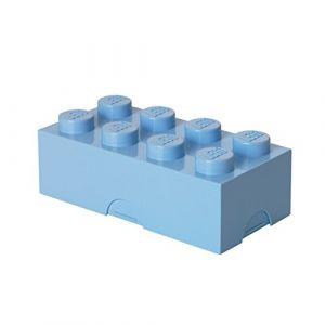 Lego Boîte à lunch 8 plots, petit conteneur de rangement ou porte-crayons, bleu clair