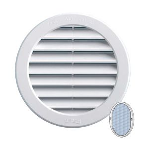 First Plast Grille ventilation PVC + moustiquaire - ExtØ120mm -Tube 100mm -