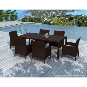 Delorm Design SD8212 - Table de jardin Bahia en résine tressée avec 6 chaises