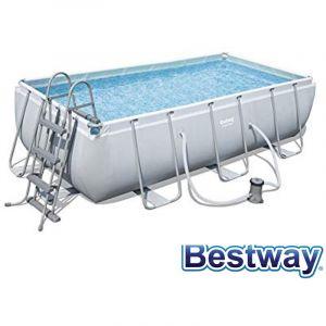 Bestway Kit Piscine rectangulaire tubulaire L4,04 x l2,01 x H1,00m - Kit Piscine rectangulaire Power Steel Frame Pools tubulaire - Longueur : 404cm Largeur : 201cm.