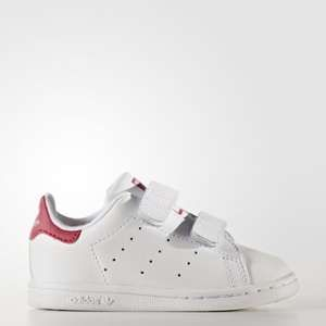 Adidas Stan Smith, Baskets Mixte Bébé, Blanc (Footwear White/Footwear White/Bold Pink), 27 EU