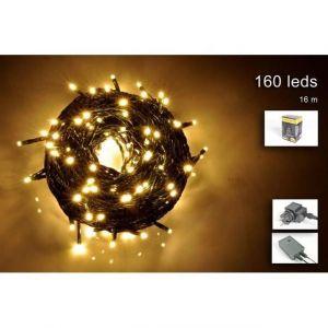 Guirlande extérieure - 160 micro-LED blanc chaud - 16 m - Fil vert - Guirlande extérieure - 160 micro-LED blanc chaud - IP44 - 8 jeux de lumière - L : 16 m - Fil vert.