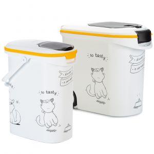 Curver Conteneur à croquettes Silhouettes de chat - jusqu'à 12 kg de croquettes
