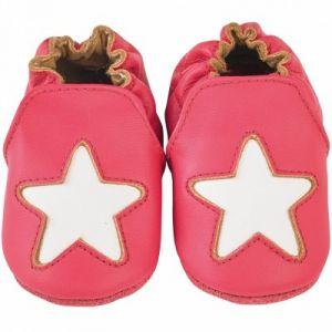 Noukie's Chaussons cuir Cocon étoile framboise (12-18 mois)