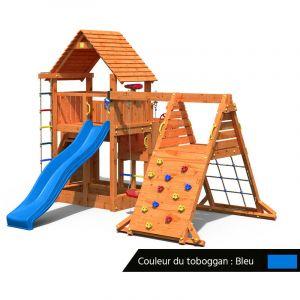 Fungoo Aire de jeux Big Leader Spider + Bac à sable + Corde + Toboggan Bleu