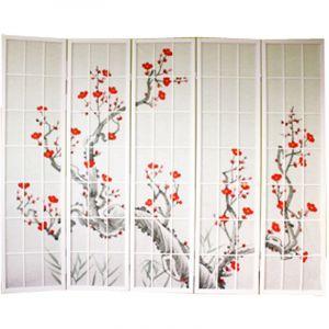 Pegane Paravent bois blanc avec fleurs de cerisier - 5 pans -