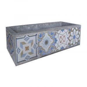 Ma Maison Mes Tendances Cache-pot rectangulaire en carreaux de ciment bleu et gris EVORA - L 83 x l 23 x H 23