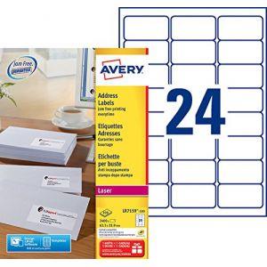 Avery-Zweckform LR7159-100 - 2400 étiquettes recyclées Laser blanches, format 63,5 x 33,9 mm (100 feuilles / cdt)