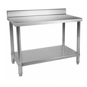 Table de travail professionnelle acier inox pieds ajustable avec rebord 100 x 60 cm
