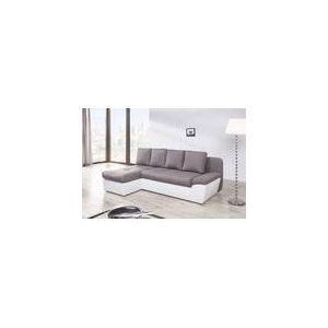 Relaxima Canapé d'angle à gauche convertible Denfert avec 2 coffres de rangement en tissu et simili